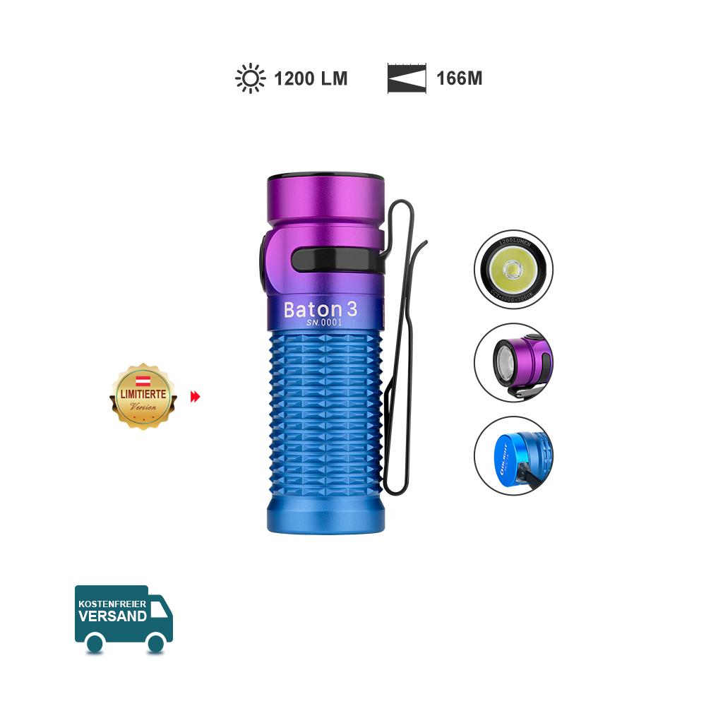 Olight Baton 3 Auroralila - Kleine Taschenlampe - EDC und Outdoors