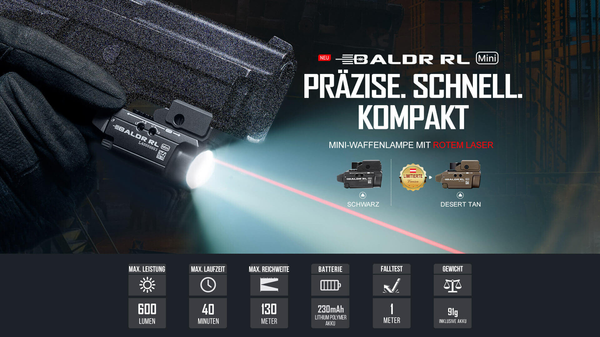 Die Baldr RL Mini ist die rote Laser Version der Baldr Mini