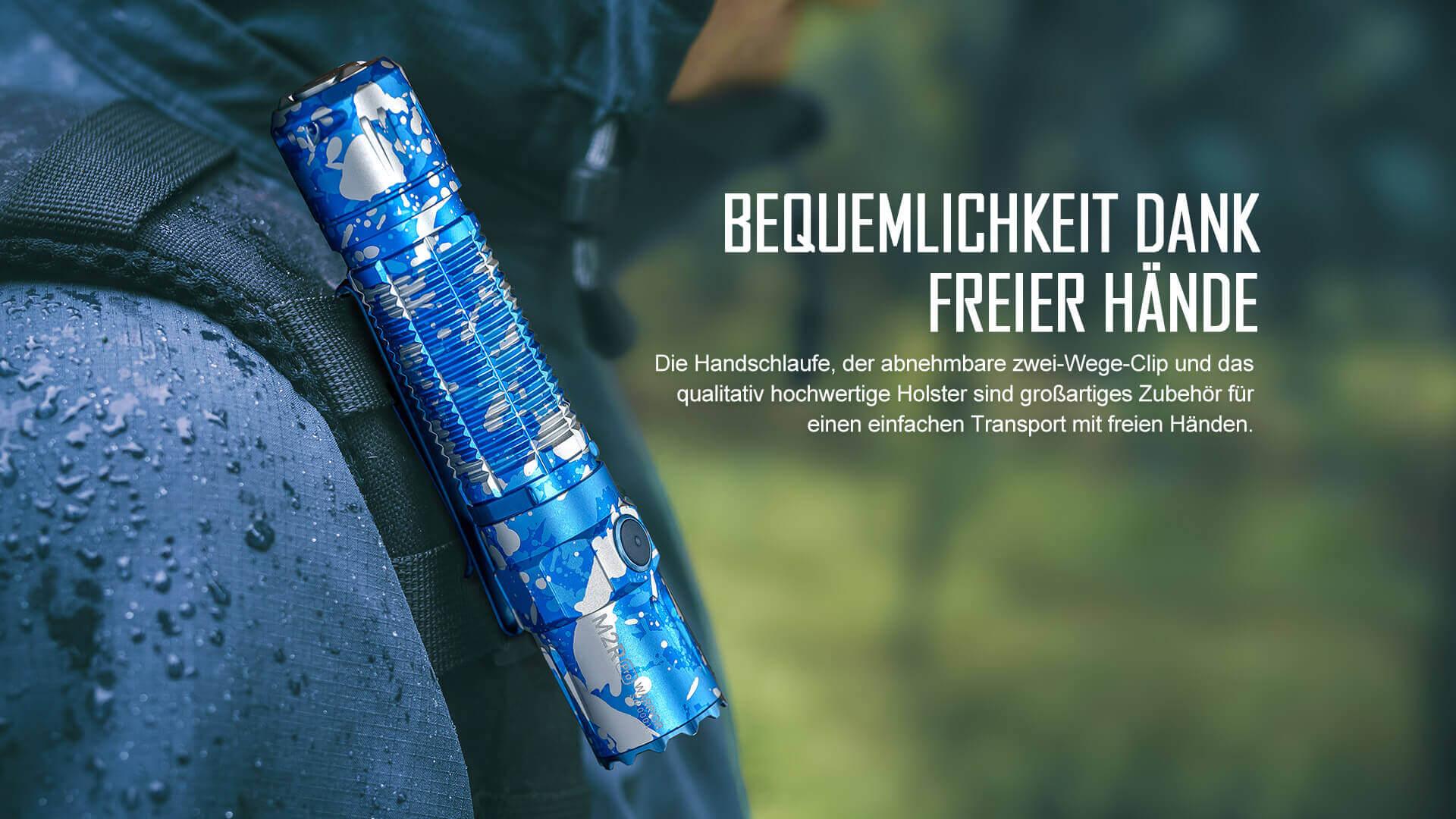 M2R Pro mit dem abnehmbaren, beidseitig-verwendbaren Taschenclip