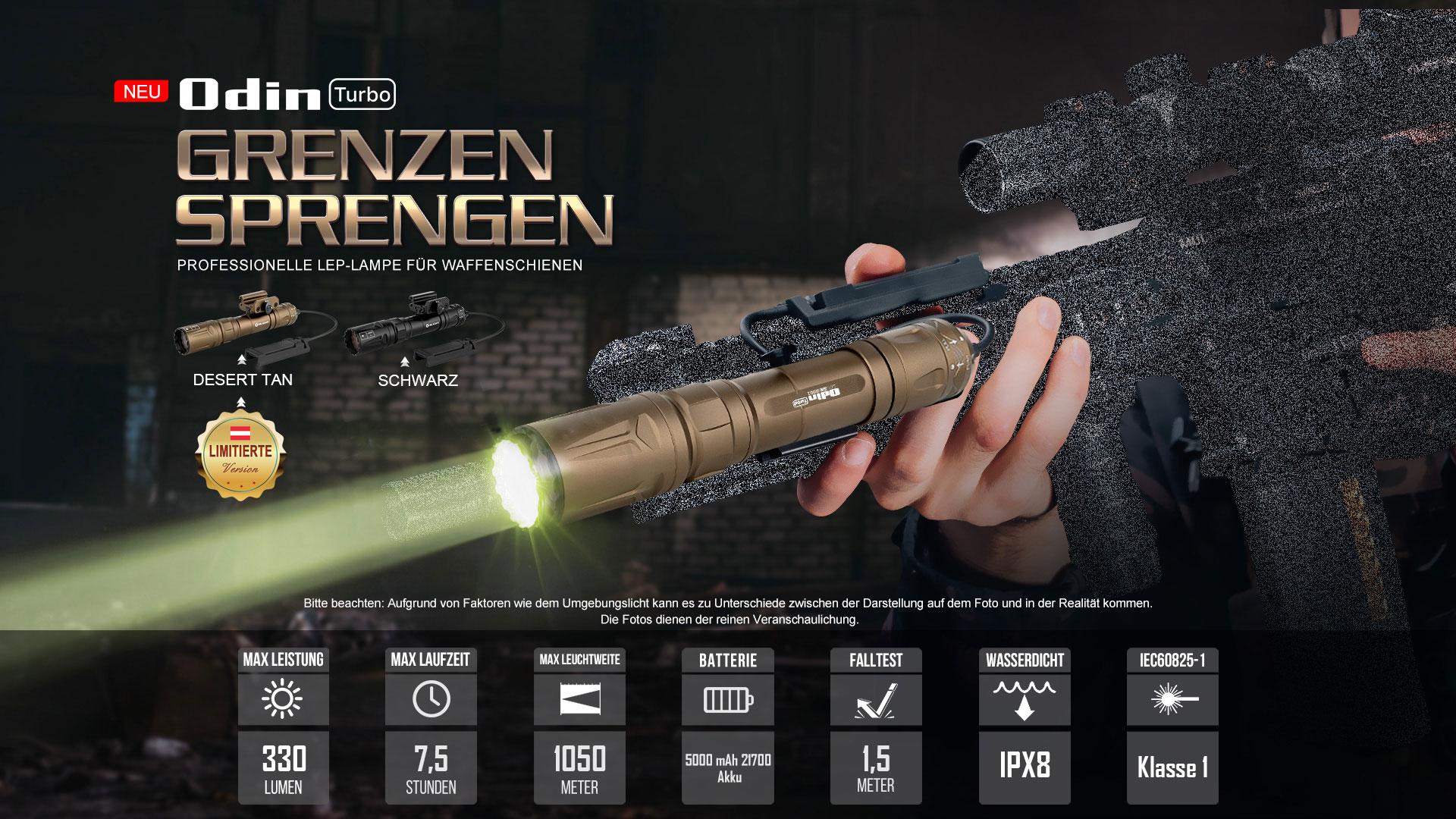 Die Odin Turbo ist Olights erste taktische LEP-Taschenlampe in unserer revolutionären Odin Waffenlicht-Serie.