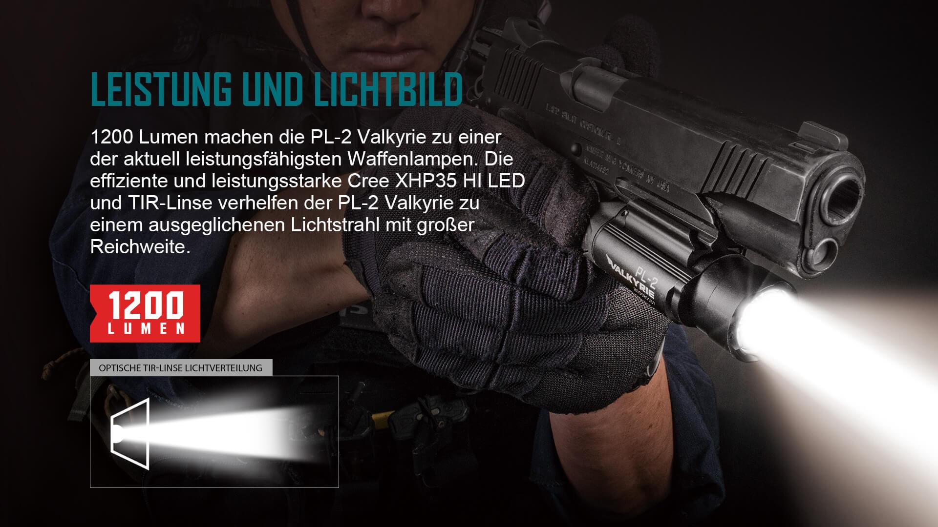 1200 Lumen machen die PL-2 Valkyrie zu einer der aktuell leistungsfähigsten Waffenlampen.