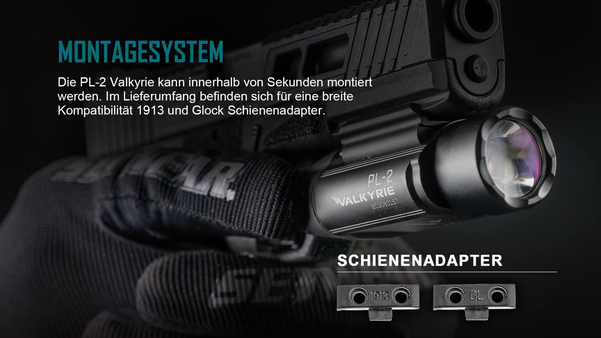 Im Lieferumfang befinden sich für eine breite Kompatibilität 1913 und Glock Schienenadapter.