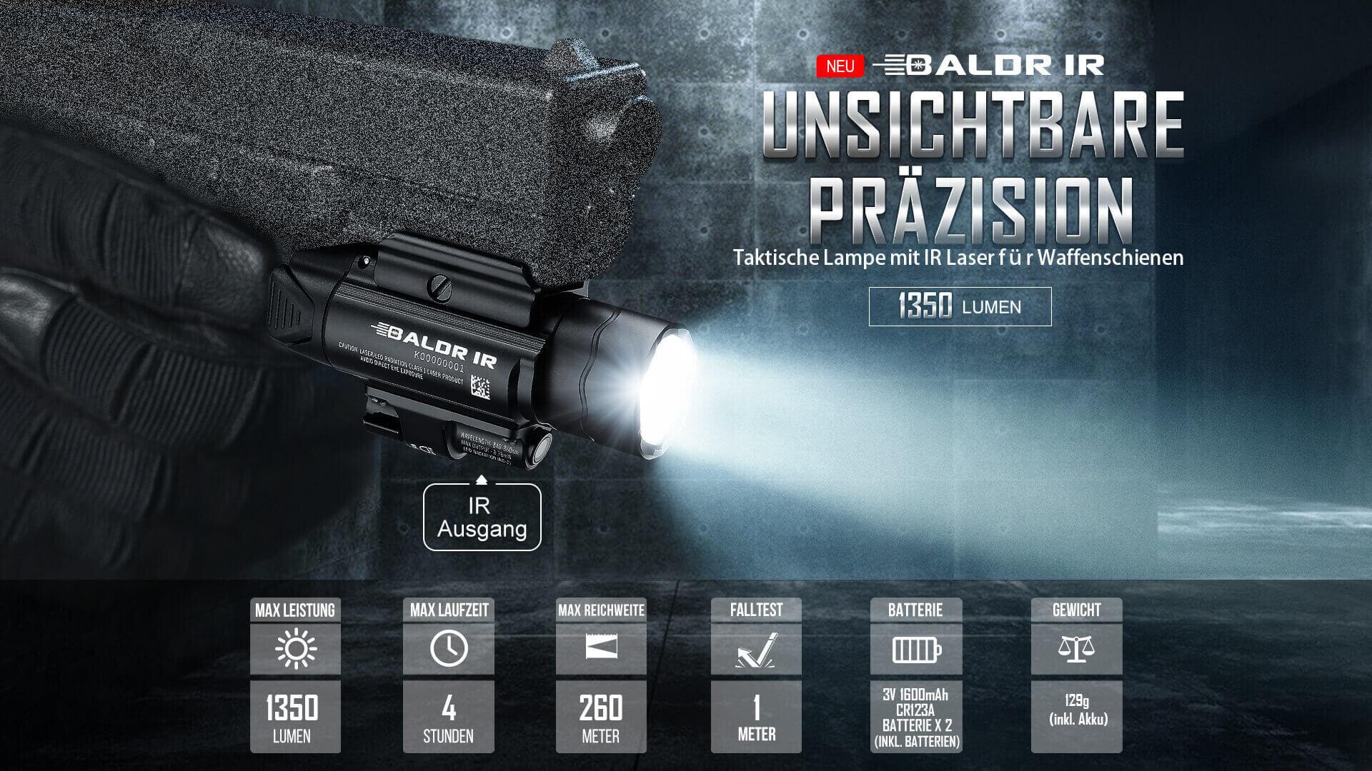 Die Baldr IR ist eine Waffenlampe mit weißer LED und Class 1 IR Strahl (unbedenklich für Augen) für die Waffenschienensysteme Picatinny (MIL-STD-1913) und Glock.